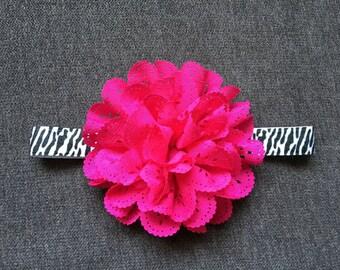 Handmade Baby Headband: Black & White Zebra Print Headband accented with Eyelet Chiffon Flower