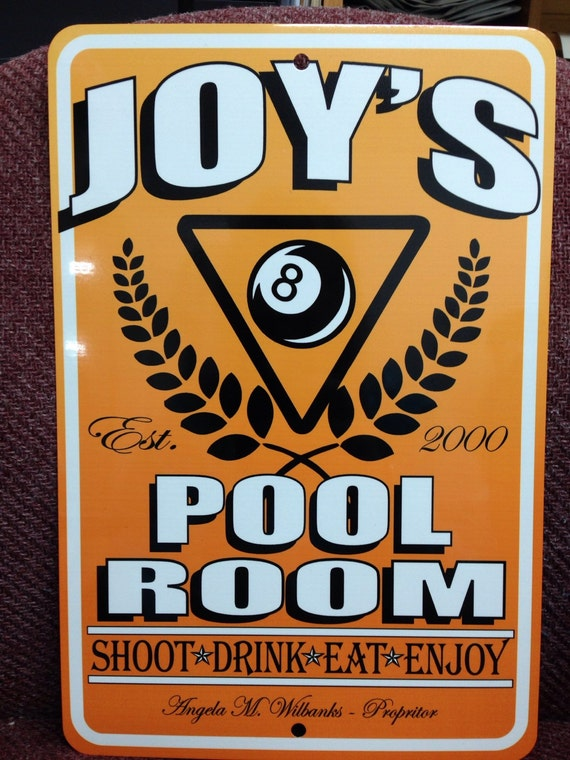 Billiard Sign Pool Sign Personalized Signs Metal Made To Order