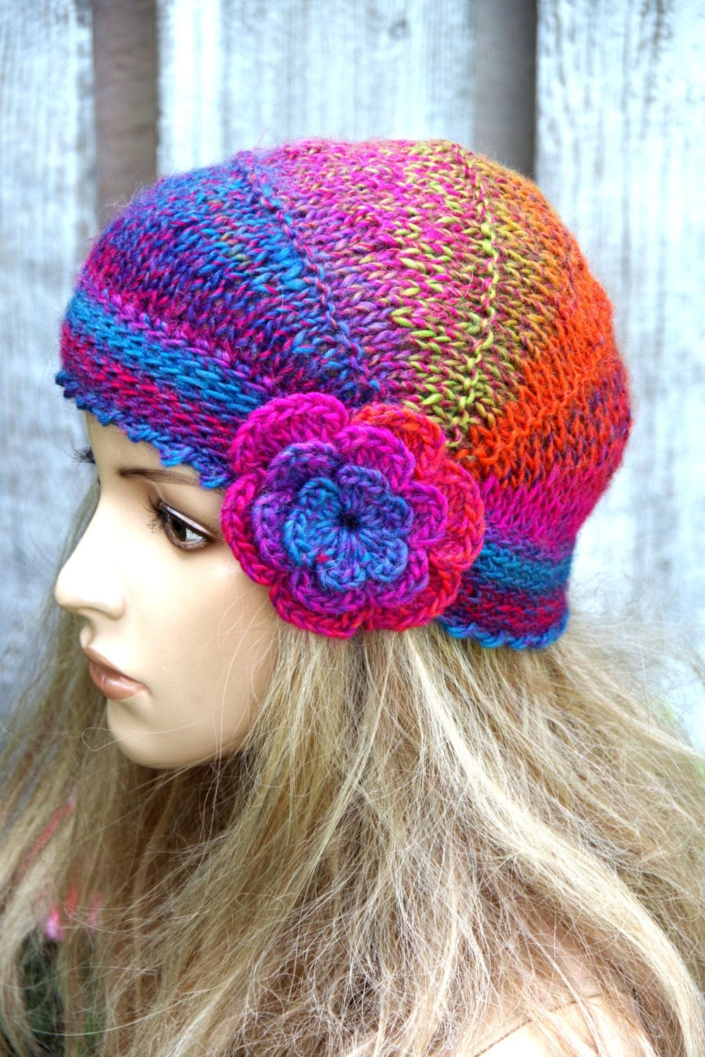 Knitting Pattern For Beanie With Flower : Knitted flower hat Colorful Knitted Beanie Womens Knitted