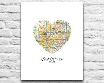 Fort Ft Worth Texas Vintage Map Art Instant DIGITAL DOWNLOAD Printable, moving gift, wedding gift, engagement, city, gift, poster,diy