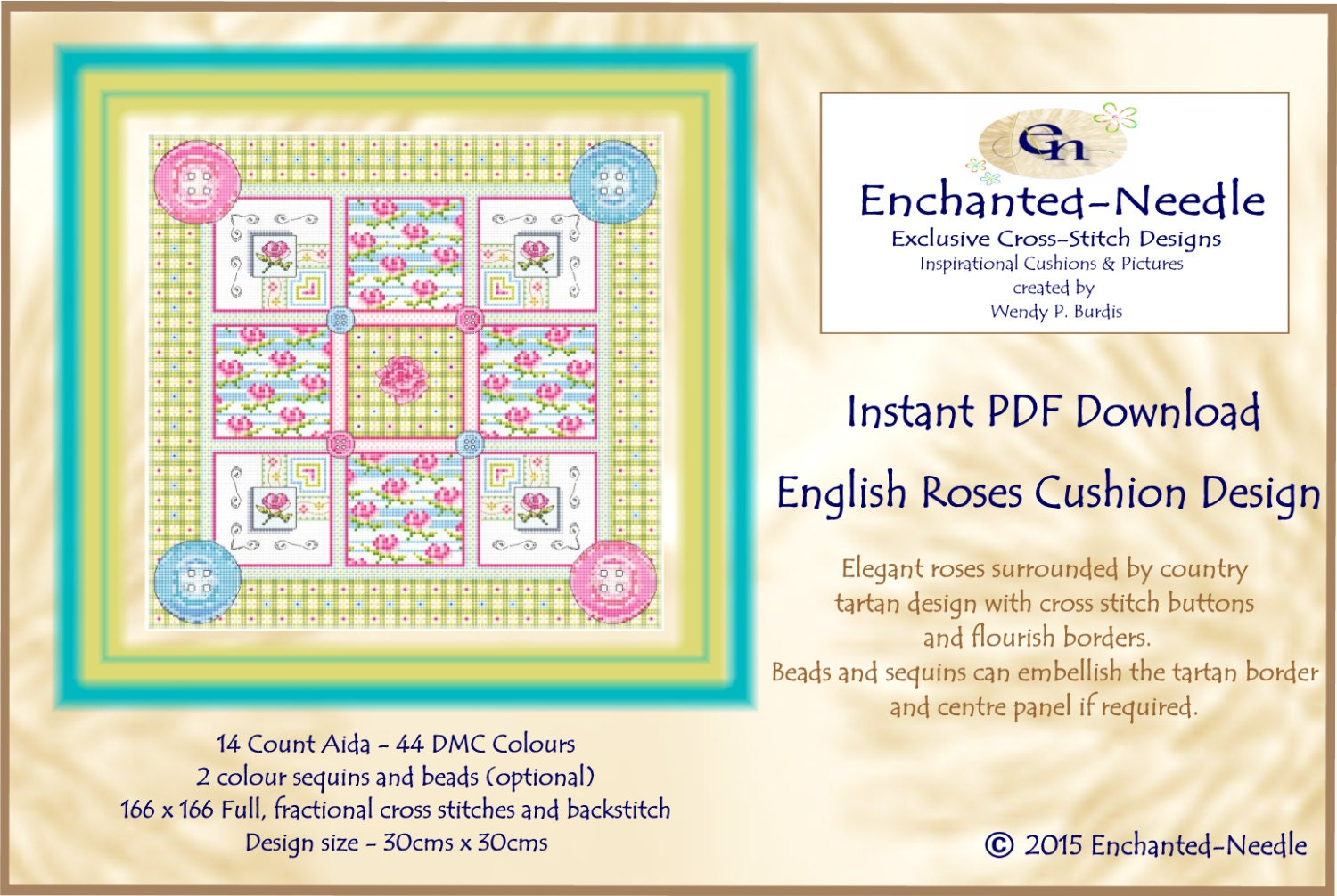 English rose cross stitch cushion colour pdf chart rose tartan this is a digital file geenschuldenfo Images