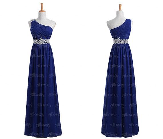 one shoulder bridesmaid dress  royal blue bridesmaid dresses  unique    One Shoulder Royal Blue Bridesmaid Dresses