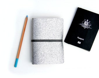 Shimmering Passport & Pocket Journal Cover. Gray Glitter Re-fillable Cover to Hold Passports, Moleskine Pocket Journals and Field Notes.