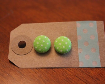 SALE || Green Dots Fabric Button Earrings - Small