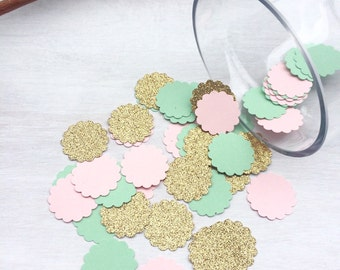 Mint Green Pink & Gold Glitter Confetti | Scalloped Confetti | Circle Confetti | Bridal Shower | Table Decor | Wedding | Baby Shower