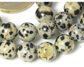 32 beads wire round 6mm 6 mm Dalmatian Jasper