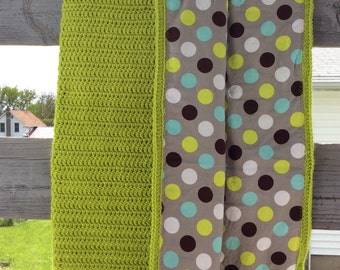 Crocheted and lined baby blanket, boy blanket, green crocheted blanket, polka dot lining, baby shower gift, quilt,ready to ship,