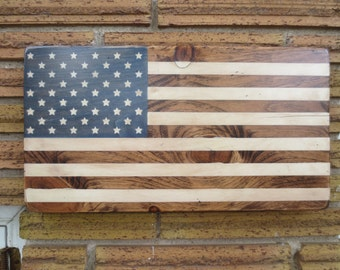 Rustic Blue American Flag on pine  - Distressed
