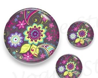 Brown Base  Paisley Flower Glass Round Cabochon 1 x 25mm / 2 x 12mm