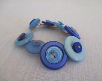 Handmade Blue button bracelet