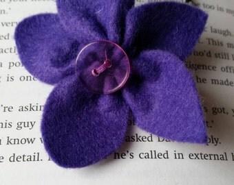 Purple flower hair elastic bobble tie for ponytail