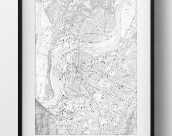 Chattanooga, TN Map Poster 11x17 18x24