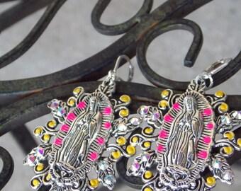 Colorful Virgen de Guadalupe earrings