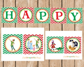 Peter Pan Printable Happy Birthday Banner, DIY