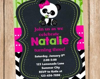 Panda Chalkboard Style Invitation