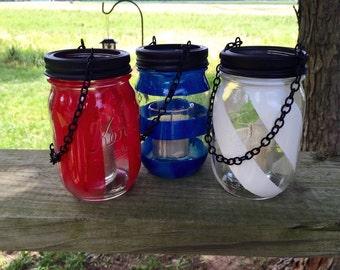 Red, White, and Blue Mason Jar Lanterns