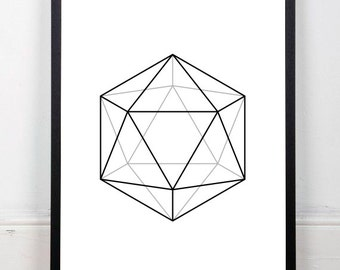 Icosahedron printable, abstract art print, black and white print, platonic solids print, geometric drawing, sacred geometry, 18x24 print