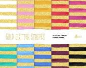 Gold Glitter Strips & brush papers clipart: 10 Digital files. Brush strokes, gold glitter, background, green, mint, blue, pink, printable