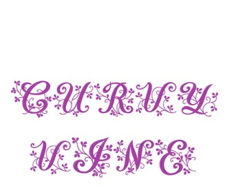 Curvy Vine Embroidery Font