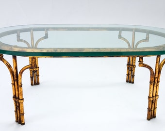 Vintage Gilt Faux Bamboo Coffee Table