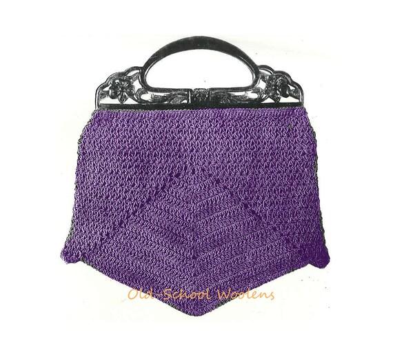 Vintage Crochet Purse Patterns : Vintage Purse Crochet Pattern 1930s Handbag Bag PDF Instant Download ...