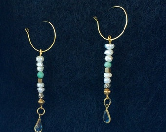 Small Blue Teardrops, with Pearls, Gold on a Gold fish hook back
