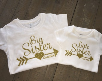 Personalized Big Sister Little Sister shirts with arrow - more color options available - sister shirt set