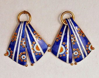 Striped Earrings in Blue and White Enamel with Dots and Circles