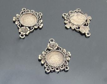 10pcs 12MM Antique Bronze Round Cameo Cabochon Base Setting Pendants Charm Pendant ,Vintage Pendant base(DT-A12328)