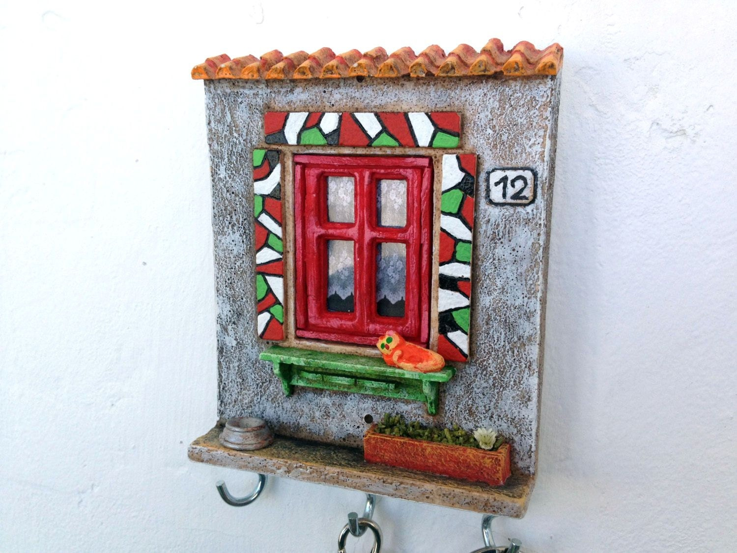 Key Holder Wall Decor Miniature Ceramic Pottery Keyholder
