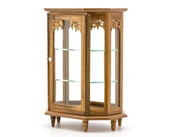 Dollhouse Miniatures Classic Vintage 3-Storied Octagon Wood & Glass Showcase Cabinet Openable Door Carving Design Decorating Furniture