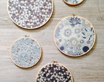 Set of 5 Liberty Print Embroidery Hoops Wall Decor