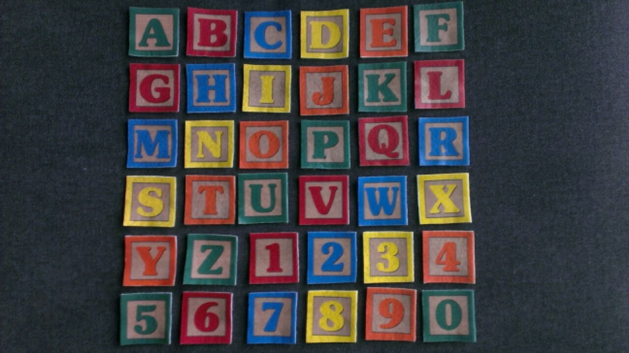 Felt block letters and numbers set flannel board for Flannel board letters