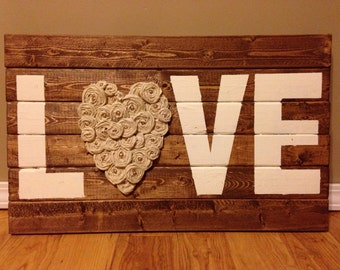 LOVE Wooden Sign w/ Rosettes