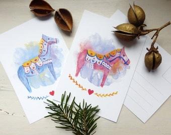 Set of 2 • Postcard DALA, Dala-Horse, Illustration, Christmas Card, watercolour Dalarna
