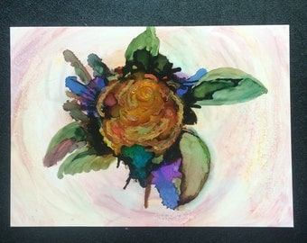 "Alcohol Ink Painting ""Rose in BOOM"" 5x7 on yupo paper"