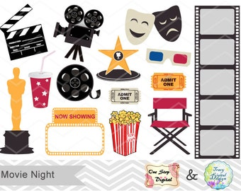 Digital Movie Clip Art Digital Movie Party Clipart Digital Cinema Clip Art Digital Theater Clipart Digital Hollywood Theme Clip Art 0163