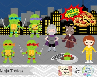 Instant Download Ninja Turtle Digital Clipart, Ninja Turtle Clip Art, TMNT Clip Art, Ninja Turtle Party, Pizza Party, Printable Party, 0196