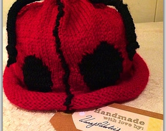 Ladybug lined handmade knitted hat
