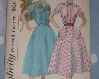1950s Pintuck Shirtwaist Dress Pattern Simplicity 2070 Sz 18