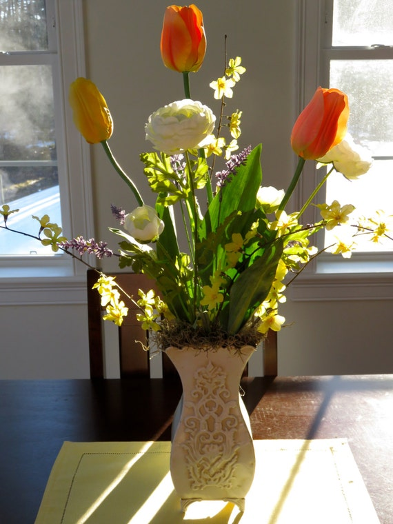 Dining room table centerpiece spring floral