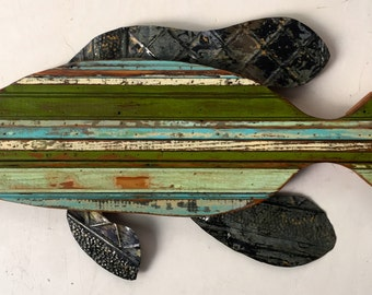 """Reclaimed Wood and TIn """"Sea Bass"""" Wall Sculpture"""
