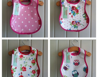 Wipe clean baby bib - simple oilcloth bib with adjustable velcro neck.