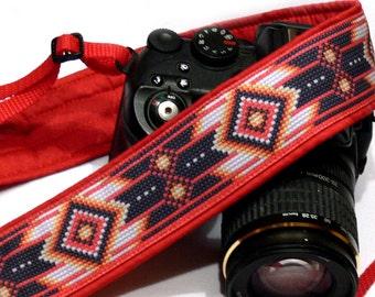 Native American Camera Strap (inspired). DSLR Camera Strap. Red Camera Strap. Camera Accessories