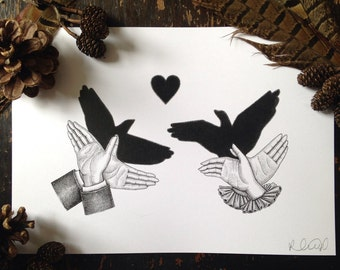 Lovebirds / Victorian Hand Shadow Puppets A5 Print