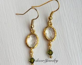 Gold Glass Pendant Earrings - Olive Green Swarovski Crystals - Olive Green Earrings - Pendant Earrings - Swarovski Earrings