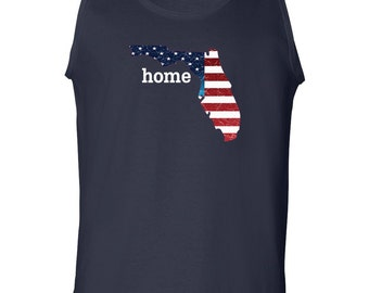 Patriotic American Flag Florida State Fourth of July Men's Tank Top