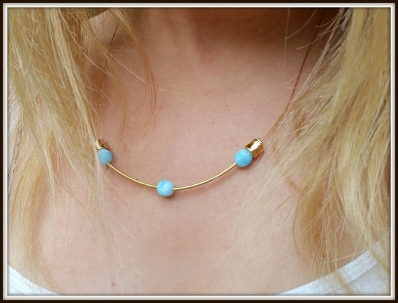 Delicate Turquoise Necklace, Golden Funky Necklace, Dainty Blue Necklace, Chunky Womens Necklace, Blue Bar Necklace, Teenage Girl Necklace
