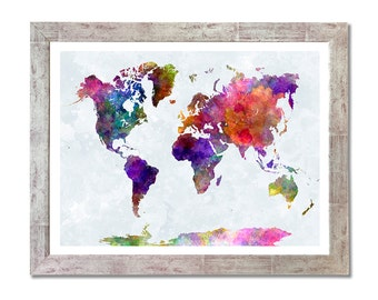 World map in watercolor painting abstract splatters - 8x10 in. to 12x16 in.- Fine Art Print Glicee Poster Watercolor Illustration - SKU 0605
