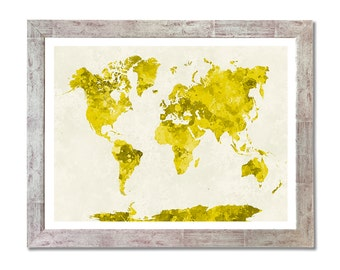World map in watercolor painting abstract splatters - 8x10 in. to 12x16 in.- Fine Art Print Glicee Poster Watercolor Illustration - SKU 0615
